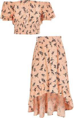 River Island Girls Pink floral cropped bardot top outfit