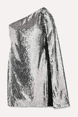 Stella McCartney One-shoulder Draped Sequined Crepe De Chine Mini Dress - Silver