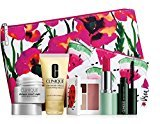 Clinique New 2016 7 pc Makeup Skincare Gift Set Pink Floral Bag (Warm)