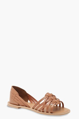boohoo Wide Fit Woven Leather Ballets