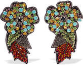 Etro Crystal, Bead And Felt Clip Earrings - Blue