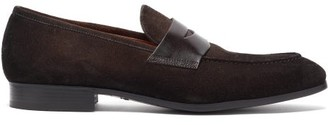 Santoni Suede And Leather Penny Loafers - Dark Brown