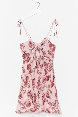 Nasty Gal Womens Floral Tie Bust Shirred Mini Dress - Pink - 10