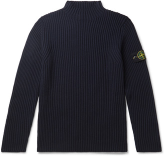 Stone Island Slim-Fit Logo-Appliqued Ribbed Wool Mock-Neck Sweater