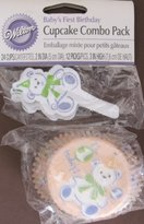 "Wilton CUPCAKE COMBO Pack ""BABY'S FIRST BIRTHDAY w 24 BAKING CUPS & 12 PICKS (TEDDY BEAR Theme)"