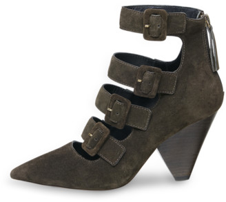 Ash Dolby Buckle Cone Heel Suede Shoes - 36 (3) - Green