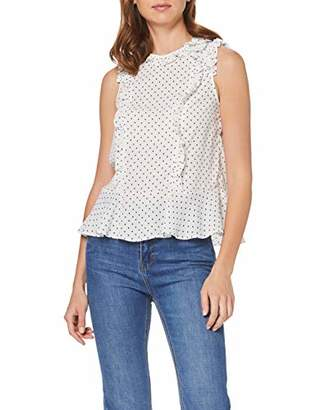 Dorothy Perkins Women's SPOT Ruffle Shoulder Sleeveless TOP Blouse,(Size:)