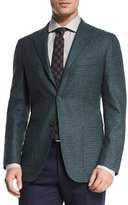 Kiton Cashmere-Blend Check Sport Coat, Teal/Navy