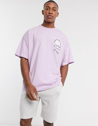 Asos DESIGN pyjama short and oversized tshirt set in lilac and gray marl