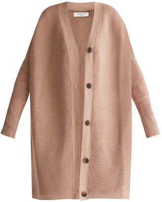 BEIGE Paisie Oversized Ribbed V-Neck Cardigan In