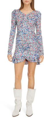 Isabel Marant Floral Print Long Sleeve Ruffled Dress