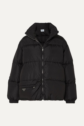 Prada Hooded Quilted Nylon Down Coat - Black