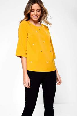 Iclothing iClothing Sarah Occasion Top with Pearl Detail in Mustard