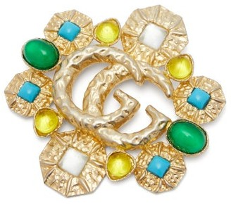 Gucci GG Marmont Embellished Brooch - Womens - Gold Multi