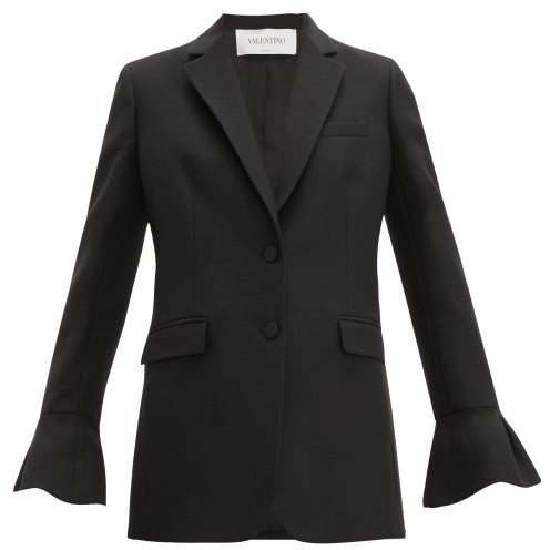 Valentino Crepe Couture Fluted-sleeve Wool-blend Jacket - Womens - Black