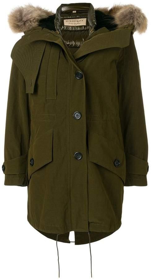 Burberry fur hooded coat