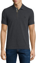 Burberry Short-Sleeve Oxford Polo Shirt, Dark Charcoal Melange