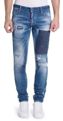 DSQUARED2 Distressed Patch Skinny Jeans