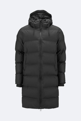 Rains Long Puffer Jacket - XXS/XS | off white - Green/Black/Black