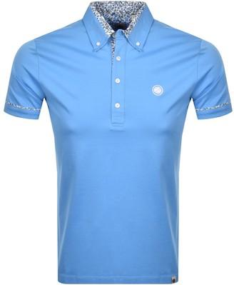 Pretty Green Floral Collar Polo T Shirt Blue