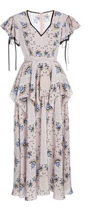 Rodarte Ruffled Floral-Print Silk Maxi Dress