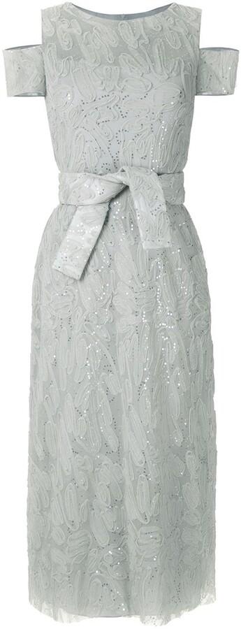 Gloria Coelho Sequin Embroidered Midi Dress