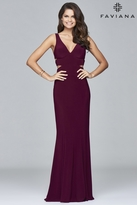 Faviana 7541 V-neck evening dress with side cut-outs