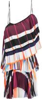 MSGM One-shoulder pleated chiffon mini dress