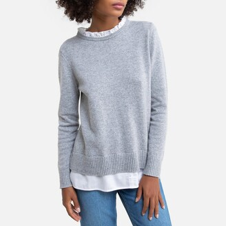 Esprit Cotton Mix Jumper with High Collar and Ruffles