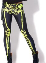 Jiayiqi Women's Sexy Fluorescence Galaxy Skull Print Thin Leggings Ankle Length Tights