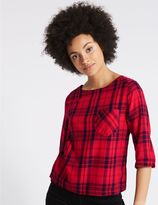 Marks and Spencer Modal Rich Checked 3/4 Sleeve Shell Top
