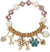 Betsey Johnson Pearl Dog Multi Charm Half Stretch Bracelet