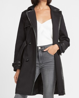 Express Vegan Leather Trimmed Belted Trench Coat
