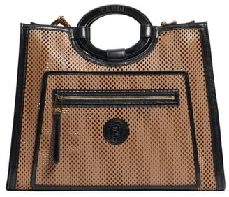 Fendi Medium Runaway Perforated Leather Shopper
