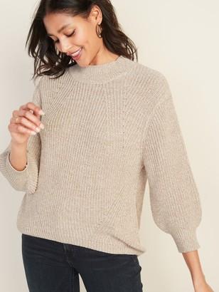 Old Navy Textured Mock-Neck Blouson-Sleeve Sweater for Women