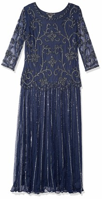 Pisarro Nights Women's Long Beaded Scroll Motif Dress
