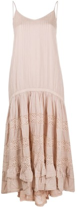 Mes Demoiselles Dropped-Waist Lace-Insert Maxi Dress
