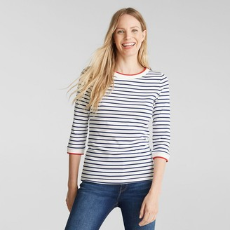 Esprit Breton Striped T-Shirt with Crew-Neck in Organic Cotton