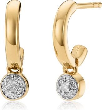 Monica Vinader Fiji Tiny Button Diamond Huggie Hoop Earrings