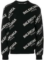 Balenciaga jacquard logo crew neck jumper