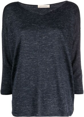 Gentry Portofino Cashmere-Silk-Linen Blend Jersey Knit Loose Jumper