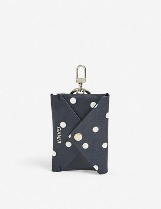 Ganni Leopard-print envelope pouch leather key chain