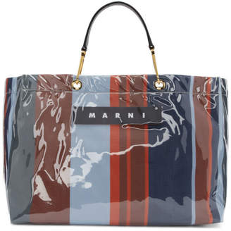 Marni Blue and Red Large Glossy Grip Shopping Bag