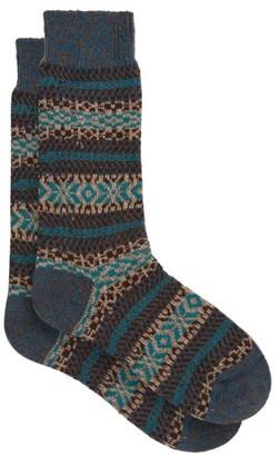Pantherella Scott Nichol Farne Fair Isle Patterned Socks - Mens - Blue