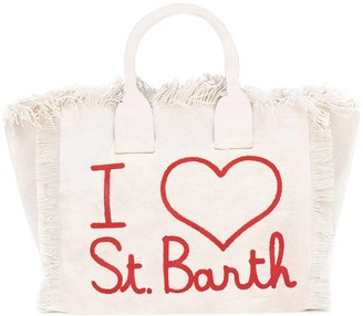MC2 Saint Barth White Beach Bag With Red Embroidery