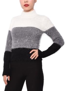 Derek Heart Juniors' Colorblocked Mock-Neck Sweater