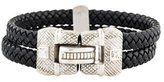 Judith Ripka 18K Woven Leather Diamond Bracelet