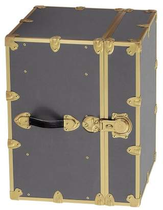 Pottery Barn Teen Canvas Dorm Trunk with Rubbed Brass Trim, Bedside, Charcoal