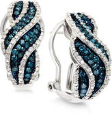 Wrapped in LoveTM White and Blue Diamond Hoop Earrings in Sterling Silver (1 ct. t.w.)