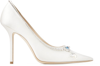 Jimmy Choo LOVE 100 Ivory Satin Pumps with Crystal Necklace Detail